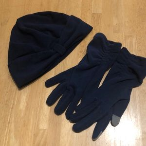 Lands End Fleece Winter Hat & EZ Touch Gloves, M